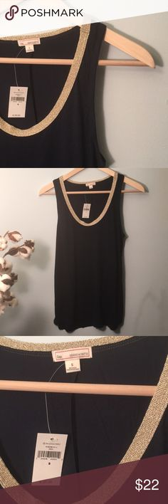 GAP NWT Gold Glitter Neckline Navy Tank Sz Small NWT. No flaws. ||bust: 13, length: approx 25.5. GAP Tops Blouses