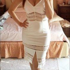 White Lace Spaghetti Sexy Strap Summer Dress Sexy white lace insert summer dress. New never worn. Dresses