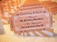 Movie Ticket Personalized Escort or Place Cards Country Fair Wedding, Old Hollywood Wedding, Hollywood Theme, Vintage Hollywood, Movie Place, Wedding Seating Cards, Carnival Wedding, Movie Themes, Movie Ideas