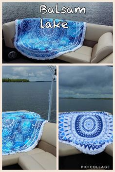 Relaxing on the pontoon boat at the cottage. Round beach towels came along for the ride. $59.99 Pontoon Boat, Towels, Beach Mat, Outdoor Blanket, Cottage, Hand Towels, Cottages, Towel, Bath Linens
