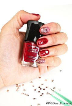 Scarlet red & polka dot mani.