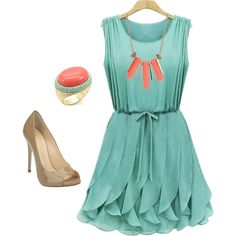 """""""mint and coral"""" by llchambers on Polyvore"""