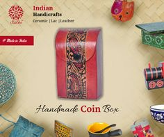 Save loose change in this handmade leather coin box. Teach kids about the value of saving. #LeatherItems #HandmadeItems #handicraft #GiftIdeas