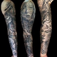 full view of this cathedral sleeve I finished recently #tattoo #blackandgrey #cathedral #morph #sleeve