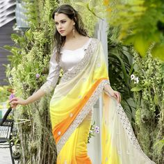 Shaded Yellow and Orange Faux Georgette Saree with Blouse