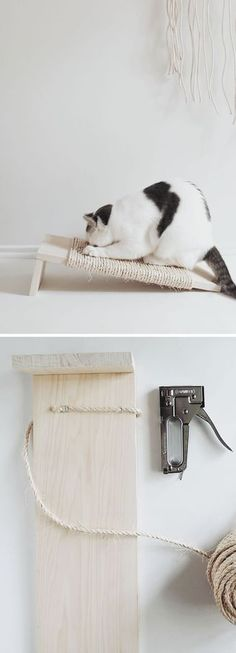 10 Step-by-Step Home Cat Scratchers - Cocolargol Mateos - - 10 Arranhadores Caseiros para Gatos passo a passo 10 Step-by-Step Home Cat Scratchers Cat Steps, Diy Cat Toys, Cat Scratching Post, Super Cat, Cat Scratcher, Cat Room, Cat Wall, Cat Crafts, Cat Furniture