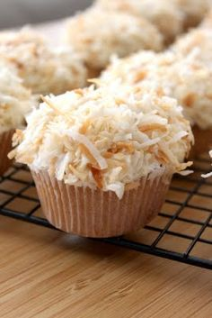 Coconut Cupcakes with Coconut Frosting ~ I can think of several people that would love these!