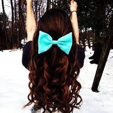 cute hair style curls blue bow