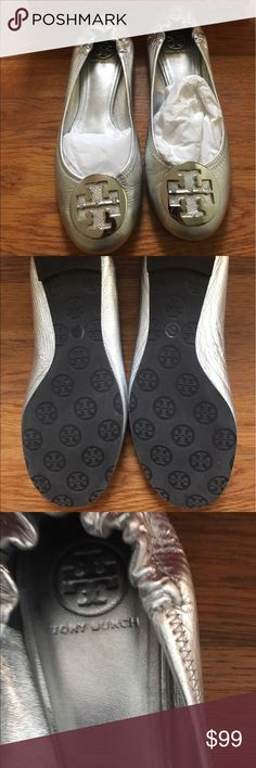 Tory Burch Silver Revas NWOT Size 9 never worn, will come with box and dustbag. Tory Burch Shoes Flats & Loafers