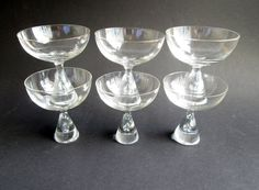 6 Princess iconic crystal liqueur or cordial glasses designed 1957 by Bent Severin and made by Holmegaard's Glasvaerk.  The price is per 6. by SCALDESIGN on Etsy