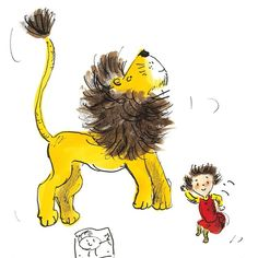 Iris and lion jumping on the bed. #howtohidealion Helen Stephens Illustrator