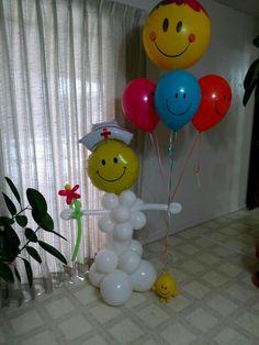Get well soon nurse balloon sculpture.