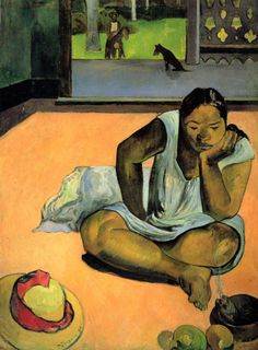 Brooding Woman by Paul Gauguin in oil on canvas, done in Now in Worcester Art Museum. Find a fine art print of this Paul Gauguin painting. Paul Cezanne, Henri Matisse, Gauguin Tahiti, Most Beautiful Paintings, Kunst Online, Pierre Bonnard, Impressionist Artists, Pics Art, Claude Monet
