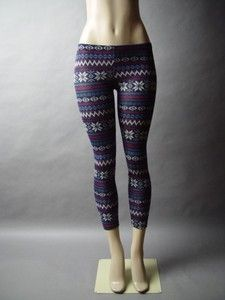 Navy Blue Fair Isle Pattern Folk Nordic Snowflake Design Knit Pants Leggings