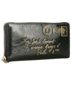 Saint Laurent : black patent 'Y-Mail' zip continental wallet : style # 300354301
