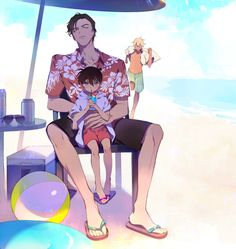 Too cute, Amuro looks peeved that Akai snatched Conan from him for a little quiet time on the beach! Detective Conan vacation.