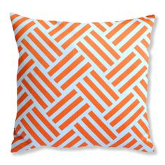 Tangerine Orange & White Parquet Stripe Cushion (£28.00) Gorgeous, fun and quirky gifts for you and your home Hunkydory Home