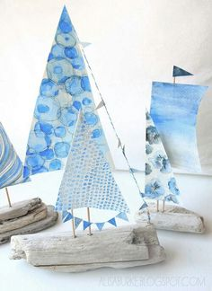 Watercolor Blue Driftwood Sailboats !