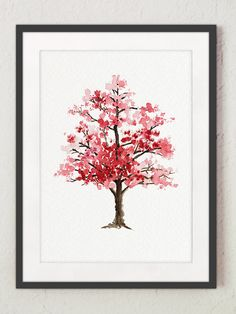 Cherry Blossom Tree Watercolor Painting Floral por ColorWatercolor