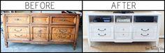 old dresser as T.V stand