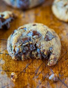 Peanut Butter Chocolate Chunk Cookies - The BEST PB Cookies. There's NO Flour, NO Butter, and NO White sugar used! Soft, chewy & oozing with...