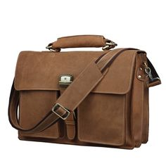 "Image of Vintage Handmade Crazy Horse Leather Briefcase / Messenger / 14"" 15"" Laptop 15"" MacBook Bag (n47-3)"