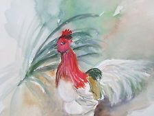 MILLIE GIFT SMITH ORIGINAL WATERCOLOR CHICKEN  Signed 2000-Now [Up to 30}
