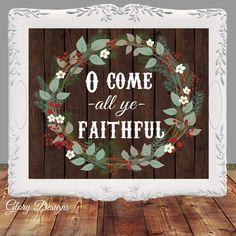 Bible Verse, O Come all ye faithful, Hymn, Merry Christmas, Printable, Christian,Christmas quote, Christmas decor, DIY, Christmas Printable