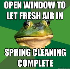 open window to let fresh air in spring cleaning complete