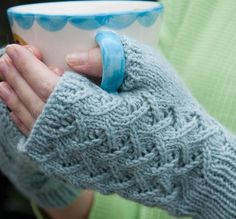 Free Knitting Pattern Cafe Au Lait Mitts - Paula McKeever's fingerless mitts feature an easy all-over lace pattern. Pictured project by kimbamel
