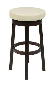 Metro Espresso Cream Faux Leather Wood 30 Inch Round Barstool