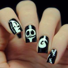 halloween - tim burton inspired nail art