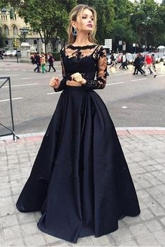 Bateau Neck Two Piece Long Sleeves Lace Evening Dress Prom Dresses-Pgmdress
