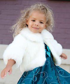 Look what I found on #zulily! Winter White Faux Mink Jacket - Toddler & Girls #zulilyfinds