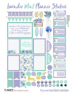 Lavender Mint Printable Planner Stickers Kit. EC & Happy Planner Purple and…