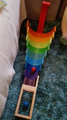 Grimm's Rainbow Ball Run inspiration Toddler Fun, Toddler Toys, Kids Toys, Play Based Learning, Kids Learning, Grimm's Toys, Grimms Rainbow, Wooden Rainbow, Handmade Wooden Toys