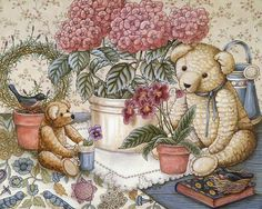 Teddys & Toys by Nita Showers - Teddy Bear Wallpapers   - Precious Teddys & Toys  -  Vintage Teddy Bear Paintings  6
