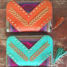 The beautiful AVA Wallet by @mahiya_leather Brightly coloured leather & authentic Guatemalan fabric combined with contrasting leather weaving and stitching Pictured here in Turquoise & Rust | In store & online now http://ift.tt/1GqdATg
