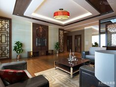 CHINESE STYLE INTERIORS   New Chinese style living room interior design pictures. Chinese-style ...