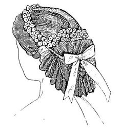 Coiffure  Coiffure, made of black illusion, cherry velvet ribbon, and cherry flowers. Suitable for a young married lady for dinner or evening dress. Godey's Lady's Book, September 1863