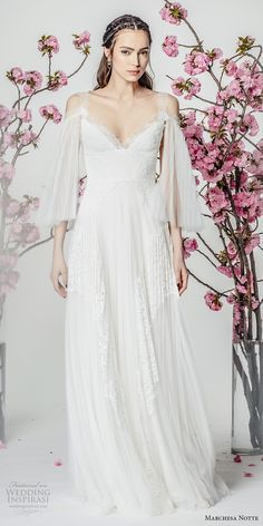 marchesa notte spring 2018 bridal three quarter bell sleeves cold shoulder v neck heavily embellished bodice grecian romantic modified a  line wedding dress sweep train (11) mv