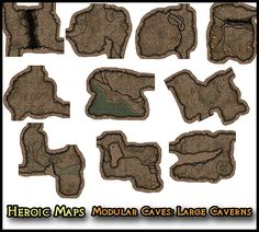 Heroic Maps - Modular Kit: Caves - Large Caverns - Heroic Maps | Caverns & Tunnels | Dungeons | Wilderness | Modular Kits | DriveThruRPG.com