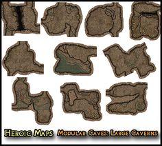 Heroic Maps - Modular Kit: Caves - Large Caverns - Heroic Maps | Caverns & Tunnels | Dungeons | Wilderness | Modular Kits | DriveThruRPG.com