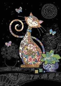 kitty cats Bug Art - Happy Cat - designed by Jane Crowther Art And Illustration, Wal Art, Cat Quilt, Cat Drawing, Cat Design, Whimsical Art, Fabric Art, Collage Art, Art Projects