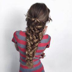 Mermaid Braid recreation on the beautiful who is wearing her Dirty… Unique Hairstyles, Bride Hairstyles, Senior Hairstyles, Mermaid Braid Tutorials, Natural Hair Styles, Long Hair Styles, Sleek Ponytail, Hair Today, Bridal Hair