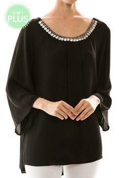 Rhinestone Neckline Chiffon Blouse (Plus Size) | Southern Grace Outfitters http://southerngraceoutfitters.com/products/rhinestone-neckline-chiffon-blouse