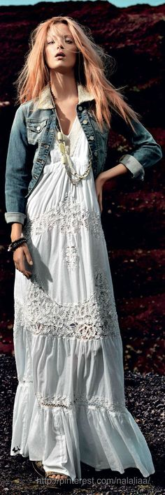 Summer look. Faded denim jacket over feminine white cotton/lace maxi dress. The inner hippie.
