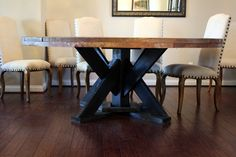 Large Rustic Round Dining Table by TheSpareGarage on Etsy