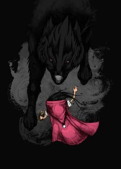 Displate Poster Big Bad Wolf. redridinghood #wolf #bigbadwolf #reds #animals #tales #story #kids #littegirls #girls
