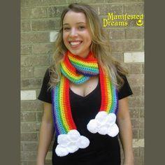 Rainbow sjaal wolken - haak